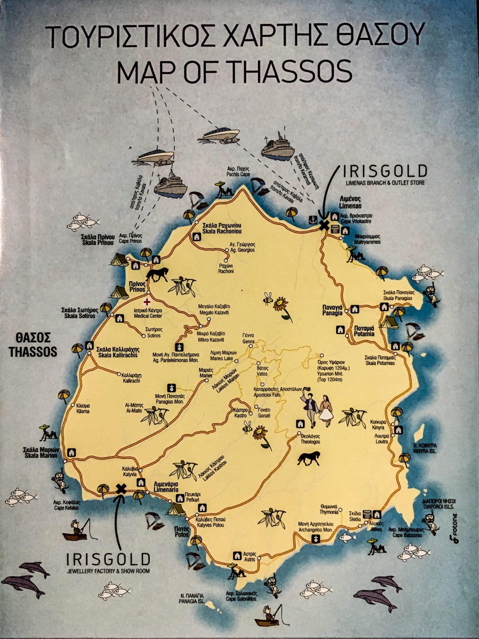 Thassos mapa